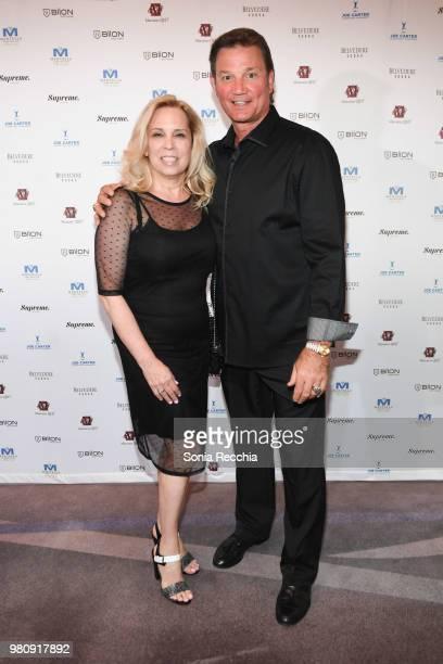 Areta Krushelnyski and Edmonton Oilers Hall of Fame Goaltender Mike Krushelnyski attend Joe Carter Classic After Party at Ritz Carlton on June 21...