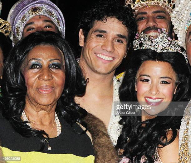 Aretha Franklin Adam Jacobs as 'Aladdin' and Courtney Reed as 'Jasmine' pose backstage at the hit musical 'Aladdin' on Broadway at The New Amsterdam...