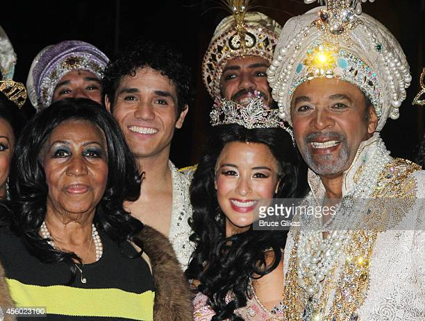 Aretha Franklin Adam Jacobs as 'Aladdin' Courtney Reed as 'Jasmine' and Clifton Davis as 'The Sultan' pose backstage at the hit musical 'Aladdin' on...