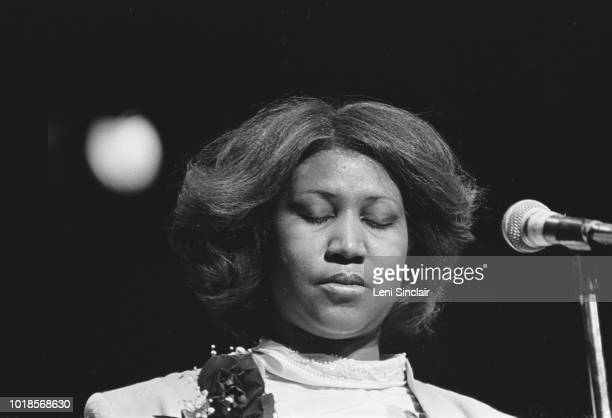 Aretha Franklin American singer/songwriter on stage at a benefit for Rev C L Franklin her father at Cobo Arena in Detroit on March 24 1980
