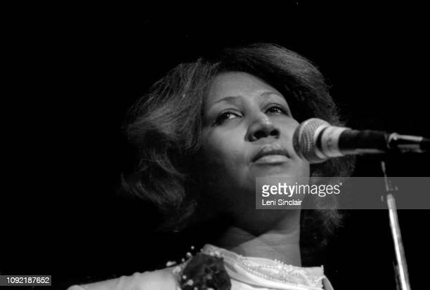Aretha Franklin American singer/songwriter on stage at a benefit for her father Rev C L Franklin at Cobo Arena in Detroit on March 24 1980