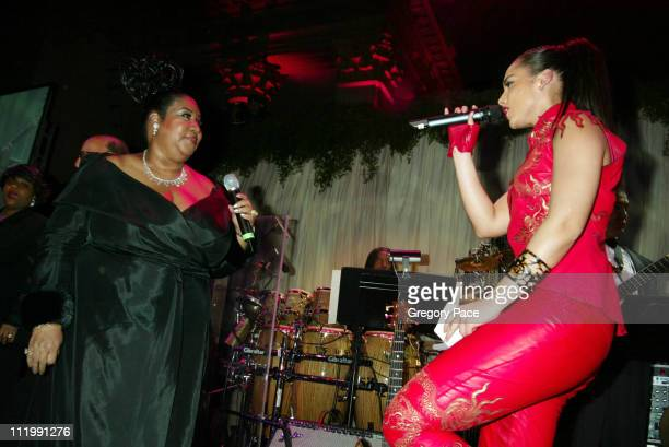 Aretha Franklin and Alicia Keys during 2003 Clive Davis PreGRAMMY Party at The Regent Wall Street in New York NY United States