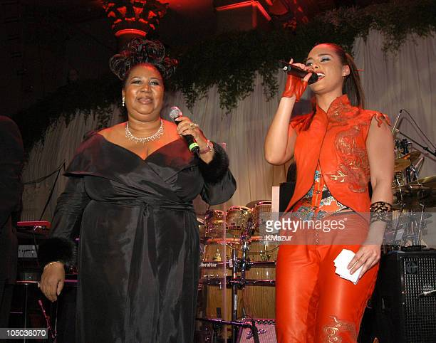 Aretha Franklin and Alicia Keys during 2003 Clive Davis PreGRAMMY Party Show at The Regent Wall Street in New York City New York United States