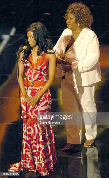 Aretha Franklin and Amerie during 10th Annual Soul Train Lady of Soul Awards Show at Pasadena Civic Auditorium in Pasadena California United States