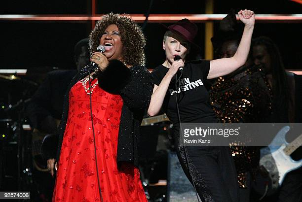 Aretha Franklin and Annie Lennox perform onstage at the 25th Anniversary Rock Roll Hall of Fame Concert at Madison Square Garden on October 30 2009...