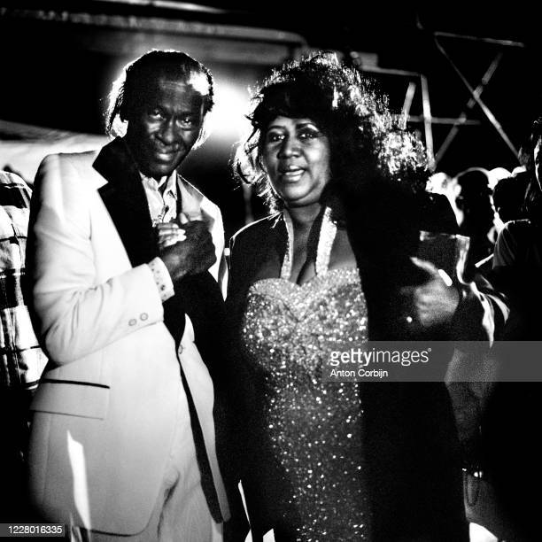 Aretha Franklin and Chuck Berry are photographed during preparations for the first concert for the Rock and Roll Hall of Fame & Museum on September...