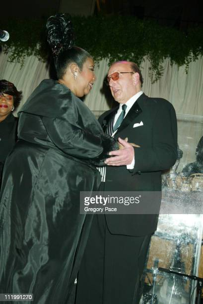 Aretha Franklin and Clive Davis during 2003 Clive Davis PreGRAMMY Party at The Regent Wall Street in New York NY United States