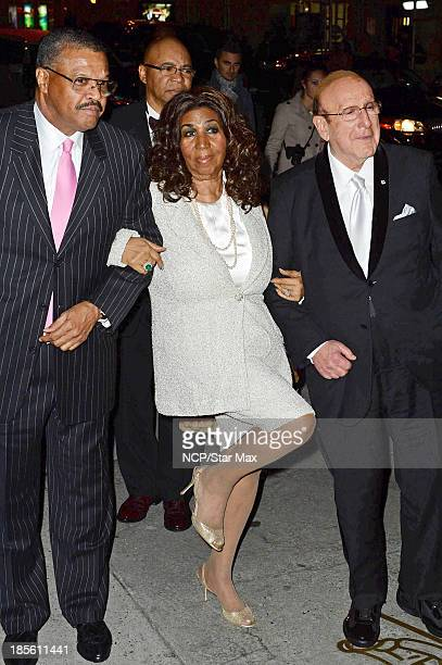 Aretha Franklin and Clive Davis seen on October 22 2013 in New York City