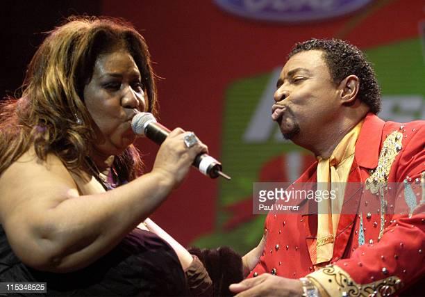 """Aretha Franklin and Dennis Edwards during Tom Joyner's """"Mistletoe Jam"""" Comes to Detroit - December 10, 2005 at Joe Louis Arena in Detroit, MI, United..."""