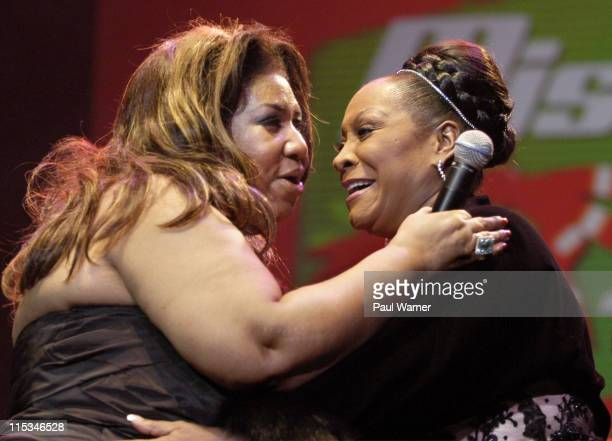 Aretha Franklin and Patti LaBelle during Tom Joyner's Mistletoe Jam Comes to Detroit December 10 2005 at Joe Louis Arena in Detroit MI United States