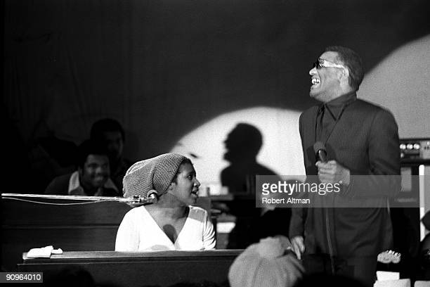 Aretha Franklin and Ray Charles perform onstage at the Fillmore West in February, 1971 in San Francisco, California.