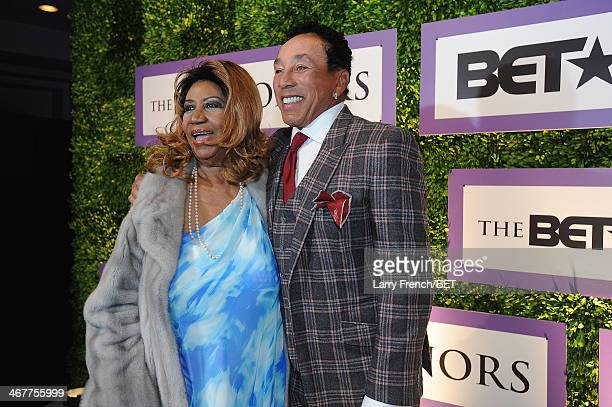 Aretha Franklin and Smokey Robinson are seen at BET Honors 2014 Debra Lee PreDinner at the National Museum of Women in the Arts on February 7 2014 in...