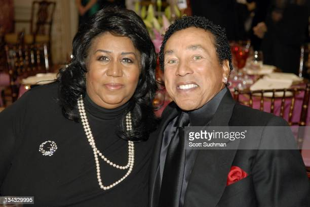 Aretha Franklin and Smokey Robinson during 2006 Kennedy Center Honors at United States State Department in Washington DC United States