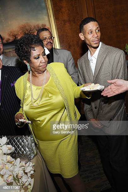 Aretha Franklin and son Kecalf Franklin attend Aretha Franklin's 72nd Birthday Celebration at The RitzCarlton Hotel on March 22 2014 in New York City