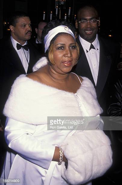 Aretha Franklin attends Arista Records PreGrammy Awards Party on February 24 1998 at the Plaza Hotel in New York City