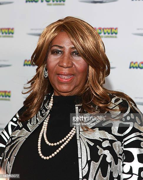 Aretha Franklin attends Motown The Musical Broadway Spring Launch Event at Nederlander Theatre on September 27 2012 in New York City