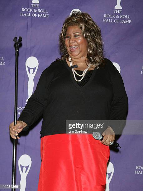 Aretha Franklin during 22nd Annual Rock and Roll Hall of Fame Induction Ceremony - Press Room at Waldorf Astoria in New York City, New York, United...