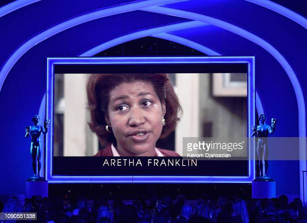 Aretha Franklin is seen on screen during In Memoriam during the 25th Annual Screen ActorsGuild Awards at The Shrine Auditorium on January 27 2019 in...