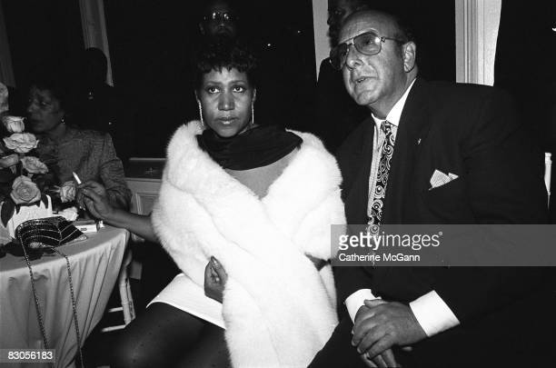 Aretha Franklin left and American record producer and music industry executive Clive Davis right at a party in July 1989 in New York City New York