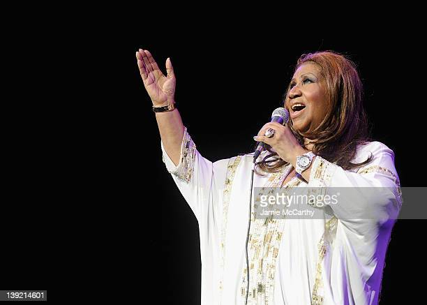 Aretha Franklin performs at Radio City Music Hall on February 17 2012 in New York City