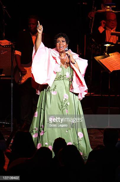 Aretha Franklin performs at the DTE Energy Center on August 25 2011 in Clarkston Michigan