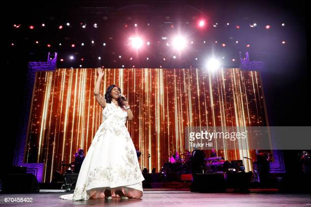 Aretha Franklin performs during the 2017 Tribeca Film Festival Opening Gala premiere of 'Clive Davis The Soundtrack of our Lives' at Radio City Music...