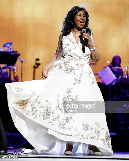 Aretha Franklin performs during the 2017 Tribeca Film Festival Opening Gala premiere of Clive Davis The Soundtrack of our Lives at Radio City Music...