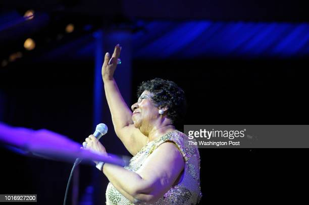 Aretha Franklin performs her signature song Respect at the National Portrait Gallery gala November 15 2015 in Washington DC The honorees of the first...