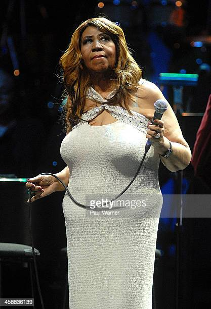 Aretha Franklin performs in concert at MotorCity Casino's Sound Board Theater on December 21 2013 in Detroit Michigan