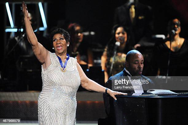 Aretha Franklin performs onstage at BET Honors 2014 at Warner Theatre on February 8 2014 in Washington DC