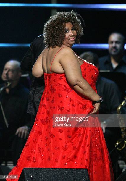 Aretha Franklin performs onstage at the 25th Anniversary Rock Roll Hall of Fame Concert at Madison Square Garden on October 30 2009 in New York City