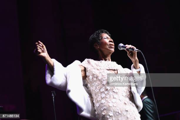 Aretha Franklin performs onstage at the Elton John AIDS Foundation Commemorates Its 25th Year And Honors Founder Sir Elton John During New York Fall...