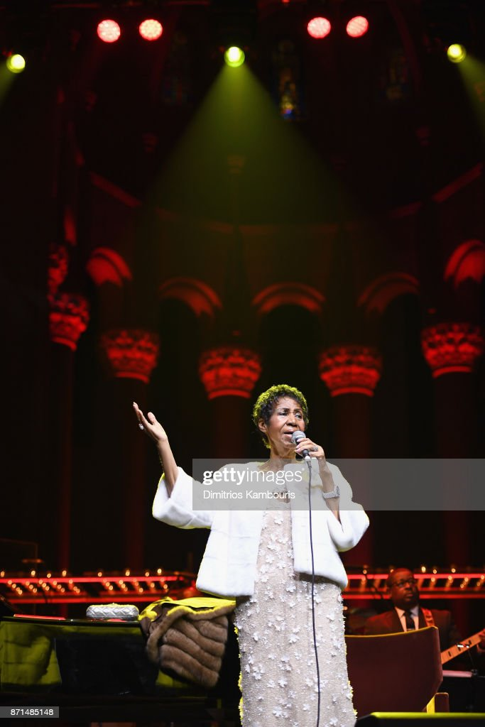 Aretha Franklin performs onstage at the Elton John AIDS Foundation Commemorates Its 25th Year And Honors Founder Sir Elton John During New York Fall Gala at Cathedral of St. John the Divine on November 7, 2017 in New York City.