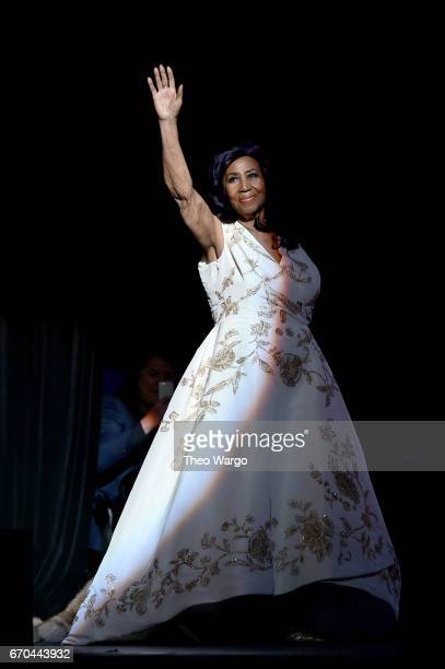 Aretha Franklin performs onstage during the Clive Davis The Soundtrack of Our Lives Premiere Concert during the 2017 Tribeca Film Festival at Radio...