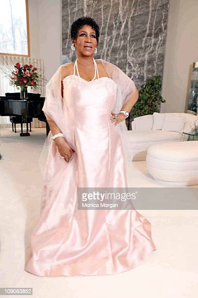 Aretha Franklin poses for a photo shoot at her residence on February 5 2011 in Bloomfield Hills Michigan