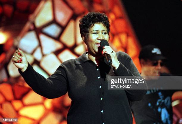 Aretha Franklin rehearses with the Blues Brothers 22 February at Radio City Music Hall in New York for the 40th Annual Grammy Awards which will be...