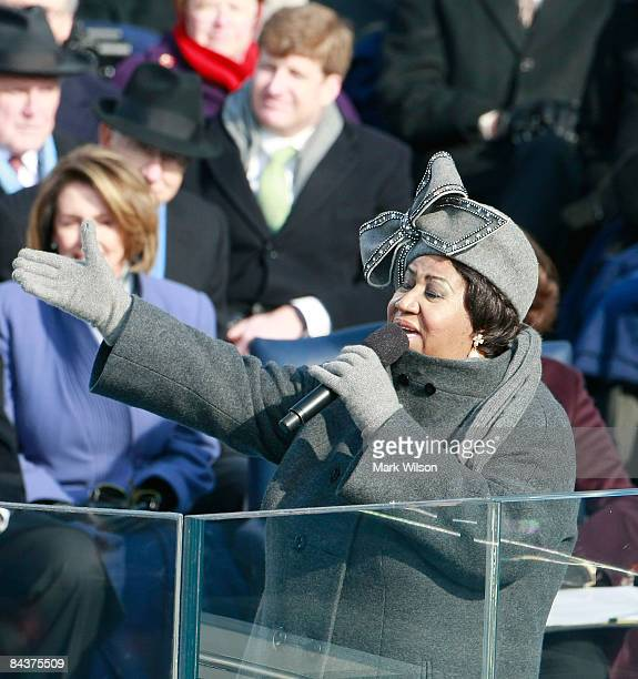 Aretha Franklin sings during the inauguration of Barack Obama as the 44th President of the United States of America on the West Front of the Capitol...