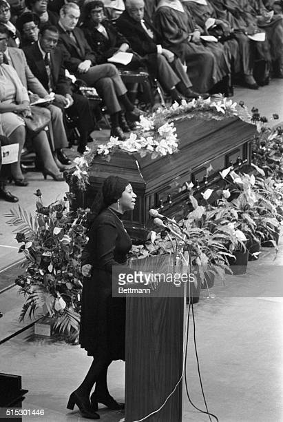 """Aretha Franklin sings during the memorial service for gospel singer Mahalia Jackson at McCormick Place. As she sang """"Precious Lord,"""" mourners broke..."""