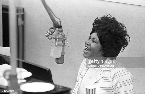 Aretha Franklin sings in the Atlantic Records studio in during The Weight recording sesssion on January 9 1969 in New York City New York