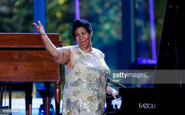 Aretha Franklin waves after her performance at the International Jazz Day Concert on the South Lawn of the White House on April 29 2016 in Washington...