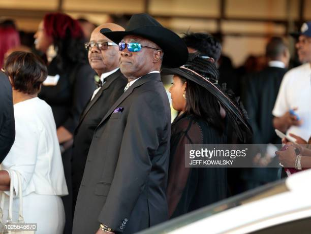 Aretha Franklin's former husband Glynn Russell Turman arrives for her funeral at the Greater Grace Temple in on August 31 2018 in Detroit Michigan