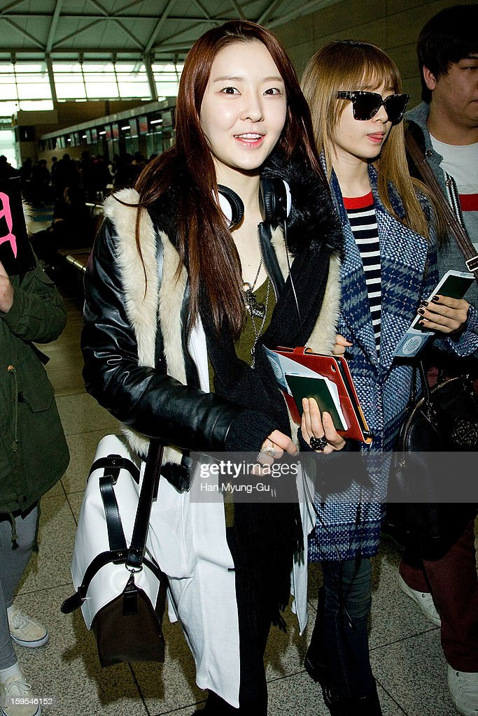 Areum of South Korean girl group T-ara is seen at Incheon International Airport on January 15, 2013 in Incheon, South Korea.