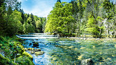 Areuse, River in the Neuchâtel Jura, Switzerland, Panorama