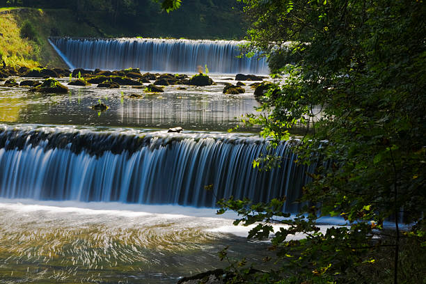 Areuse river waterfall