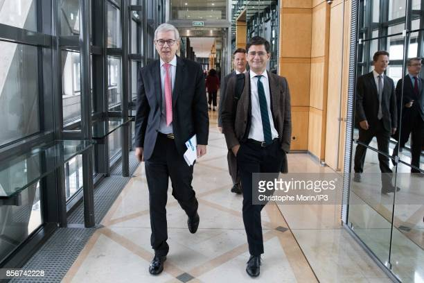 Areva Chairman of the Board of Directors Philippe Varin and General Manager of the Banque Publique dÕInvestissement Nicolas Dufourcq attend in the...