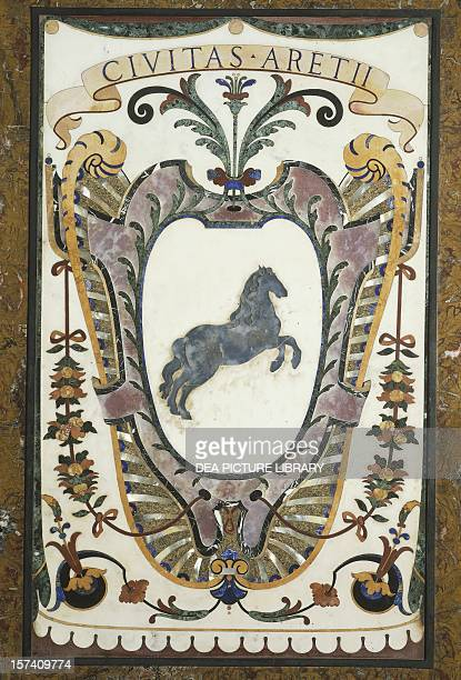 Arezzo coat of arms pietra dura marquetry from the Chapel of the Princes Basilica of St Lawrence Florence Italy 17th century