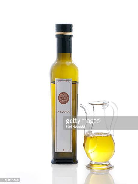 Argan oil in carafe and bottle