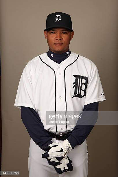 Argenis Diaz of the Detroit Tigers poses during Photo Day on Tuesday February 28 2012 at Joker Marchant Stadium in Lakeland Florida