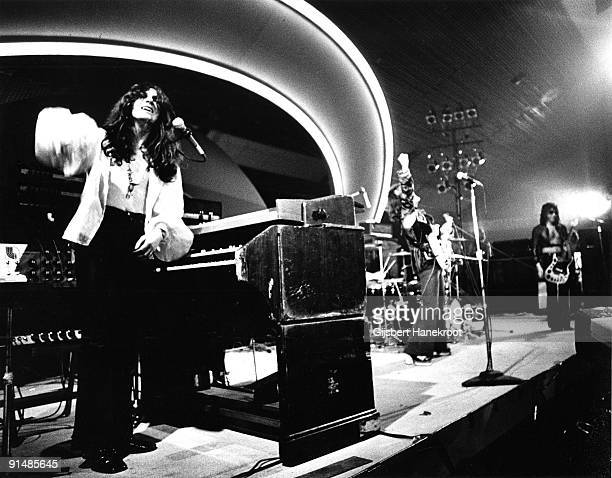 Argent perform live on stage at Popgala in Voorburg Holland on October 03 1973 LR Rod Argent Jim Rodford Russ Ballard