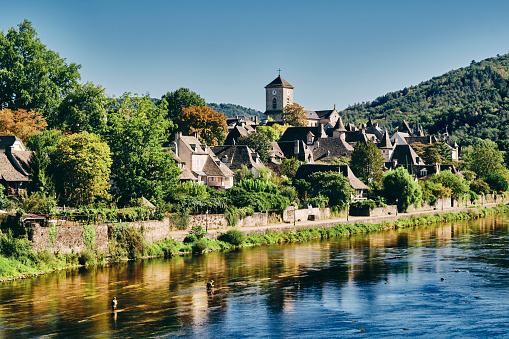 Argentat village south side of river, Dordogne, France 1179590930
